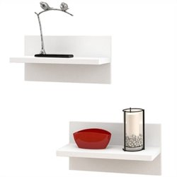 Nexera Liber-T Wall Shelves in White (Set of 2)