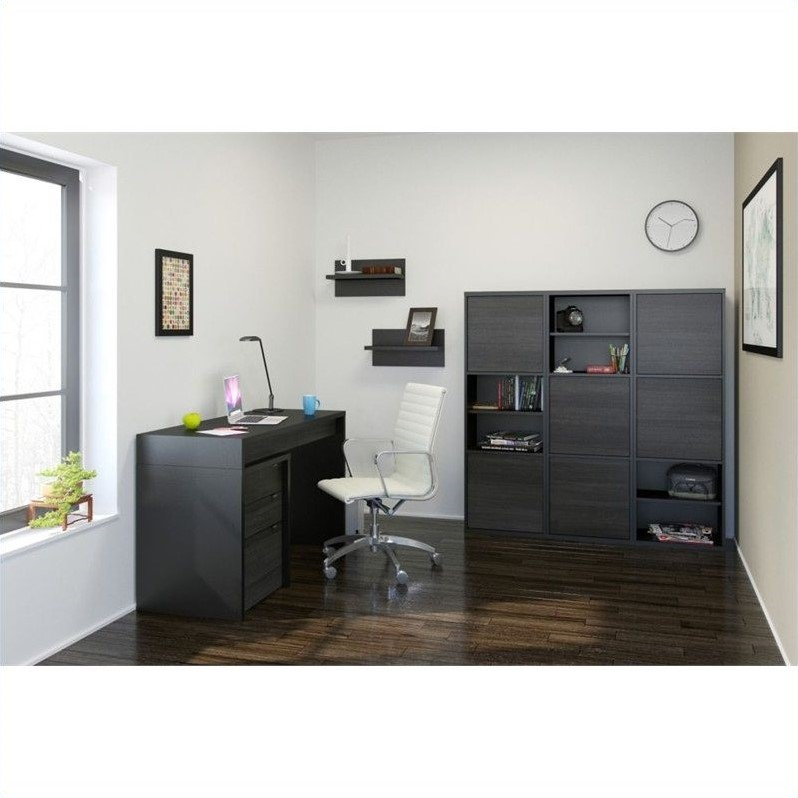 Nexera Sereni-T 3 Drawer Reversible Desk in Black and Ebony