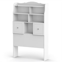 Twin Tall Bookcase Headboard in White