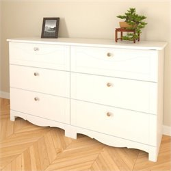 Nexera Pixel 6 Drawer Double Dresser in White