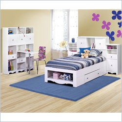 Nexera Pixel Twin Storage Bed 7 Piece Bedroom Set in White