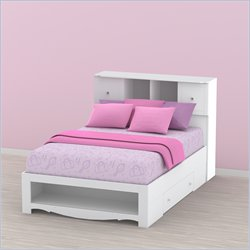 Nexera Pixel Full Storage Bed and Low Bookcase Headboard Set in White