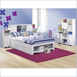 Nexera Pixel Full Storage Bed 7 Piece Bedroom Set in White
