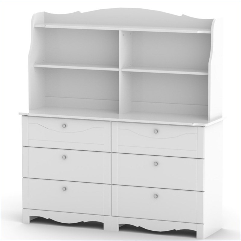 Pixel 6 Drawer Double Dresser with Hutch in White