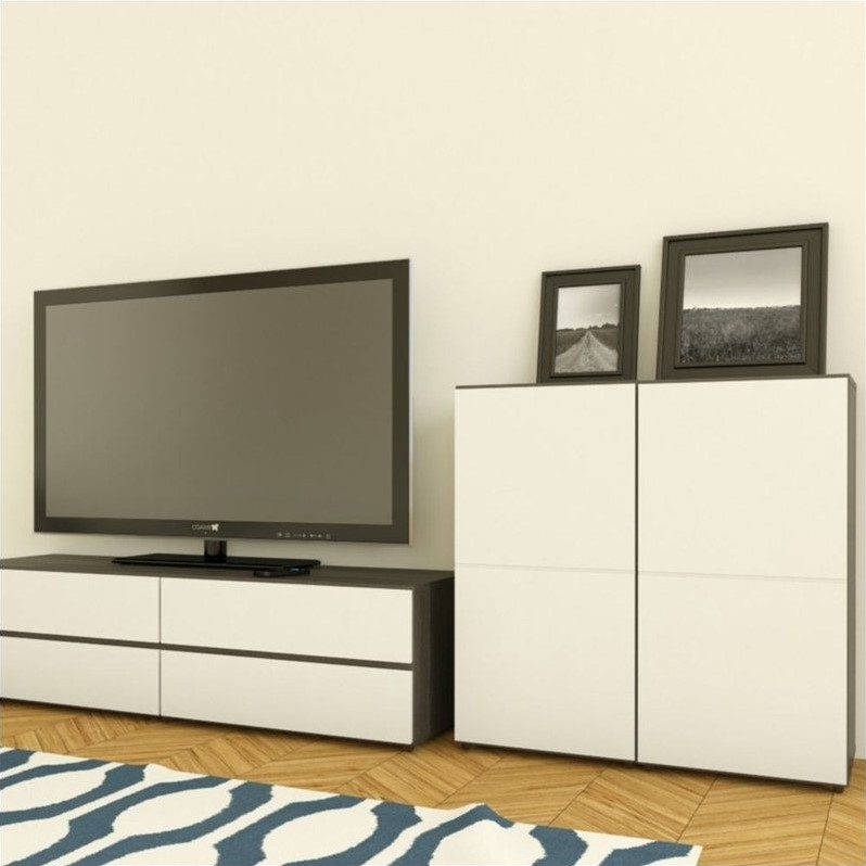 Nexera Allure 1-Door Storage Module in White Lacquer & Ebony