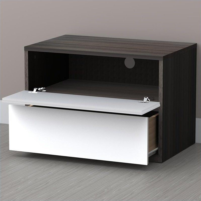 Night Stand in White Lacquer & Ebony
