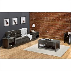 3 Piece Living Room Table Set in Espresso