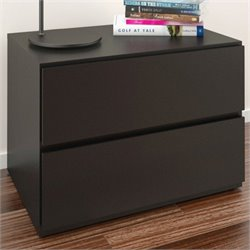 Nexera Avenue Night Stand in Black Lacquer & Melamine
