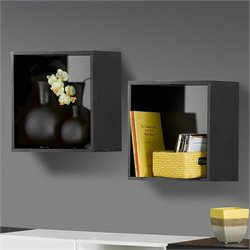 Nexera Avenue Decorative Wall Cubes in Black Lacquer (set of 2)