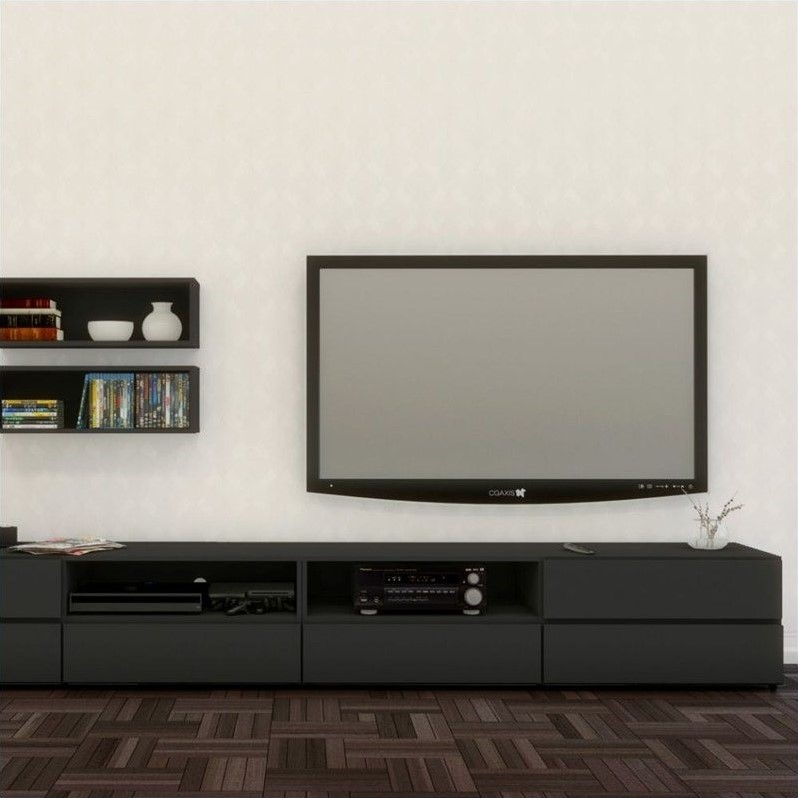 Nexera Avenue 60'' TV Stand in Black Lacquer & Melamine