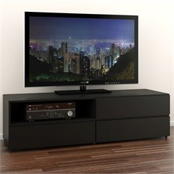60'' TV Stand in Black Lacquer & Melamine