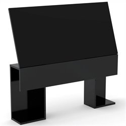 Nexera Avenue Storage Headboard in Black Lacquer & Melamine - Twin