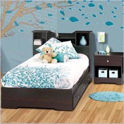 Nexera Pocono Twin Storage Bed 3 Piece Bedroom Set in Espresso
