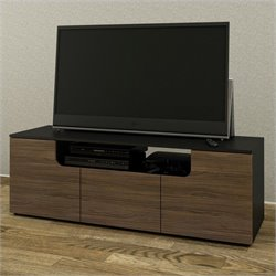 Nexera Next 60-inch TV Stand in Black and Walnut