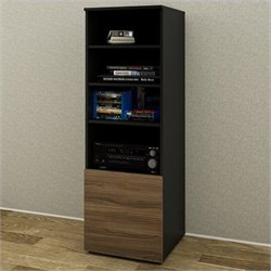 Nexera Next Bookcase in Black  and Walnut