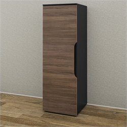 Nexera Next 1 Door Storage Unit in Black and Walnut