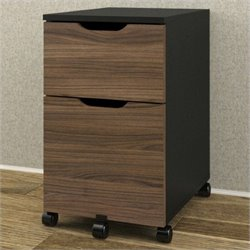 Mobile Filing Cabinet in Black and Walnut