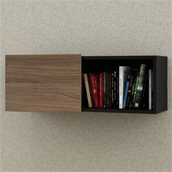 Nexera Next Wall Unit in Black and Walnut