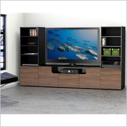 Nexera Next Entertainment Center in Black and Walnut
