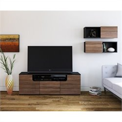 Nexera Next 3 Piece TV Stand Set in Black and Walnut