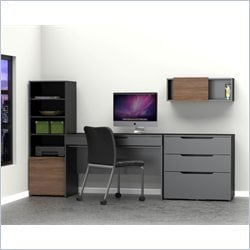 Nexera Next 4 Piece Office Set in Black and Walnut