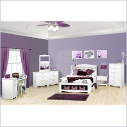 Nexera Dixie 6 Piece Platform Storage Bedroom Set (Desk included) in White