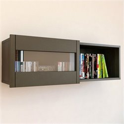 Wall Shelf with Sliding Door in Espresso