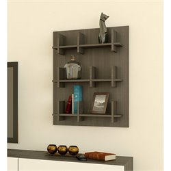 Bookcase Wall Panel in Ebony and White Finish