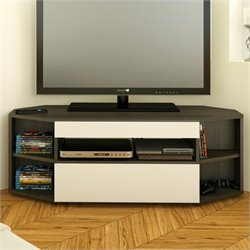 Nexera Allure 48'' Corner TV Stand in Ebony and White Finish