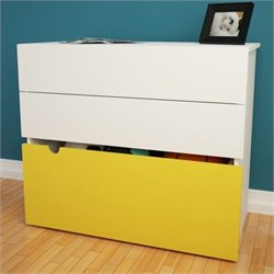 Nexera Taxi 2-Drawer Chest with Mobile Storage Trunk in White and Yellow