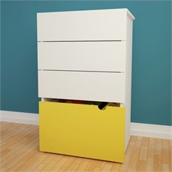 Nexera Taxi 3-Drawer Chest with Mobile Storage Trunk in White and Yellow