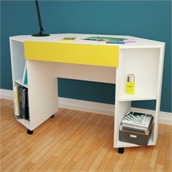 Nexera Taxi Mobile Corner Desk with Drawer in White and Yellow