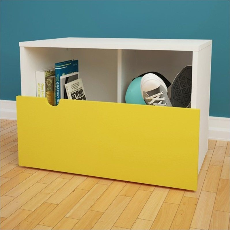Taxi Mobile Storage Bench in White and Yellow