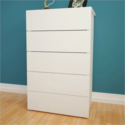 Nexera Taxi 5-Drawer Chest in White