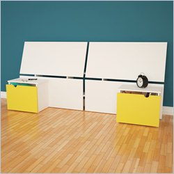 Nexera Taxi Twin Size Headboard  with Night Stands in White and Yellow
