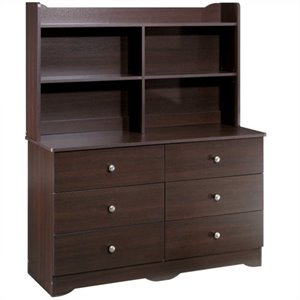6 Drawer Double Dresser with Hutch in Espresso