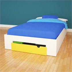 Nexera Taxi 1-Drawer Storage Bed in White and Yellow - Full