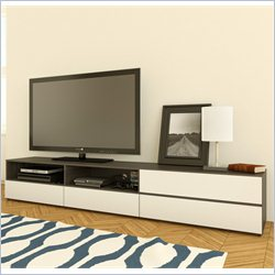 Nexera Allure TV Stand and Storage Unit in White Lacquer & Ebony