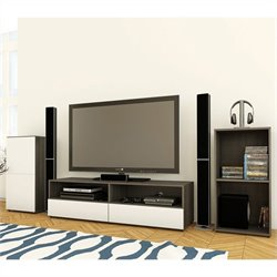 Nexera Allure TV Stand and Open Storage and 1-Door Storage Unit