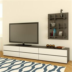 Nexera Allure TV Stand and Bookcase Wall Panel and Storage