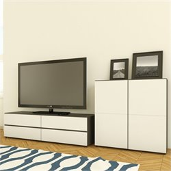 Nexera Allure TV Stand in White Lacquer & Ebony with 1-Door Storage