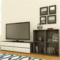 Nexera Allure TV Stand in White Lacquer & Ebony with Open Storage
