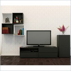 Nexera Avenue 60'' TV Stand with 1-Door Storage and Decorative Wall Cubes