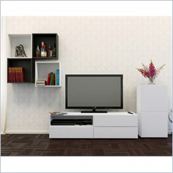 Nexera Blvd 60'' TV Stand with 1-Door Storage and  Decorative Wall Cubes