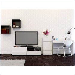 Nexera Blvd 60'' TV Stand 3-Drawer Storage 1 Drawer Desk and Wall Cubes