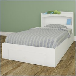 Nexera Vichy Storage Bed with Headboard in White - Twin