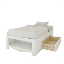 Nexera Dixie Twin Size Reversible Bed in White Lacquer and Melamine