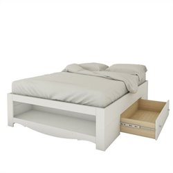 Full Size Reversible Bed in White Lacquer and Melamine