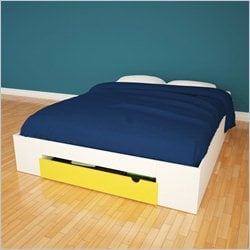 Nexera Taxi Full Size Storage Bed in White Lacquer and Melamine