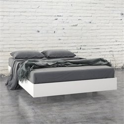 Full Size Platform Bed in White and Melamine